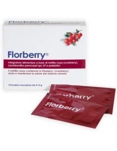 Florberry - Estratto di Cranberry, Lactobacillus p. e Prebiotici 10 Bustine Monodose da 4,15 g