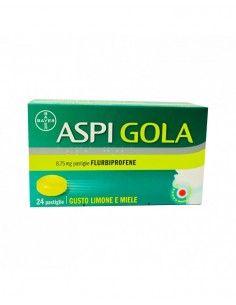 Aspi Gola - Mal di Gola Confezione da 24 pastiglie, gusto miele e limone